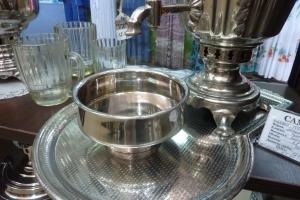 Полоскательные чаши под самовар никелированные (серебристый цвет)