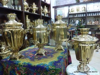 Самовары жаровые (угольные, на дровах) Тульские из СССР, латунные (золотистый цвет)
