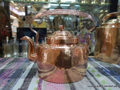Маленький антикварный красно-медный чайник. 2,5 литра. Арт.68чм