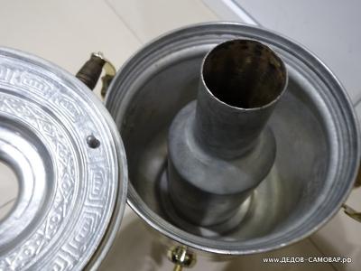 Редкий угольный, на дровах самовар с узором 7 л, СССР. Арт.489лу