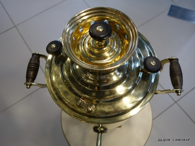 Самовар Тульский жаровой латунный 1950-70 г. на дровах 5 л. Арт.485л