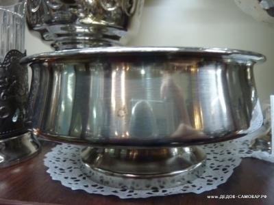Полоскательная чаша под самовар, СССР Тула, латунь никелиров. Арт.96пч