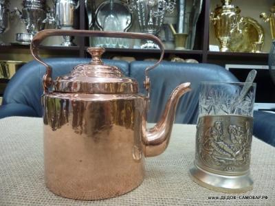 Антикварный маленький медный чайник на 1,5 л. Арт.17чнм