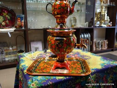 Набор с росписью: самовар, поднос, заварочный чайник. Арт.71эрнРЗ