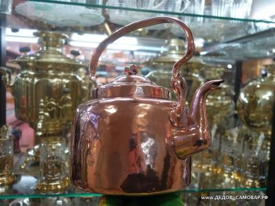 Редчайший антикварный красно-медный чайник  Арт.49чмПП