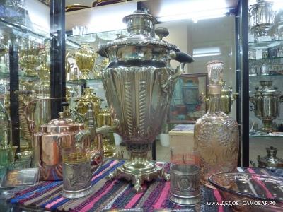 Самовар Тульский антикварный жаровой никелированный форма рюмки, бывший мастер Баташева Чугаев. Арт.184а