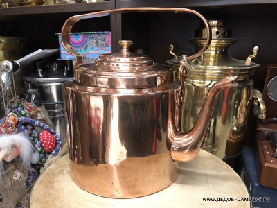 Редкий дореволюционный красно-медный чайник, Товарищество Кольчугина 5 л. Арт.104чмЛ