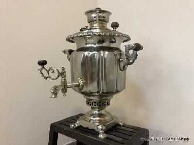 Тульский никелерованный антикварный самовар ваза  гранями Б.Г. Тейле Арт.497аПП