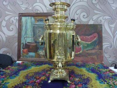 Антикварный тульский (жаровой, на дровах) самовар И.Ф. КАпырзин с С-ми, 7,5 л. АРТ.30А