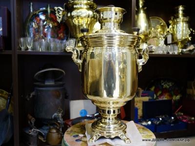 Самовар Тульский жаровой латунный на дровах из СССР, 5 л. Арт.486л