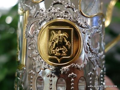 """Подстаканник """"Храм Василия Блаженного"""", стакан и ложечка  Арт.1пзл"""
