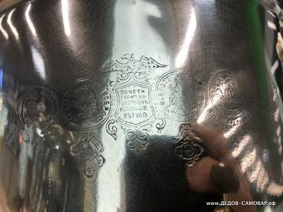 Латунный антикварный самовар бр. Воронцовых в Туле, 6,5л. Арт.604аК