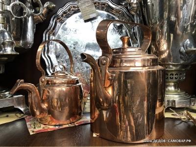 Древний антикварный красно-медный чайник, 0,75л. Арт.107чмЛ