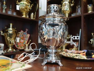 Новый самовар электрический, никелированный, ваза гранная СССР, 1989г. Арт.78эн