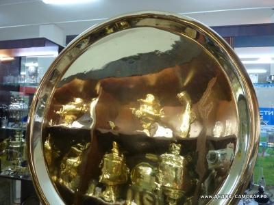 Антикварный латунный круглый поднос под самовар Арт.161пс