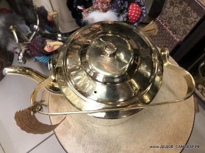 Старенький латунный чайник для пользования, 3,5 л. *ТК*  Арт.106члЛ