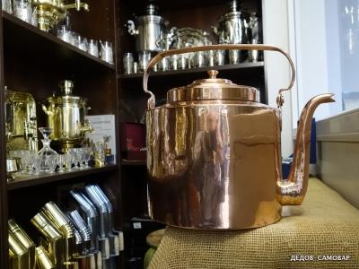 Огромный дореволюционный чайник красно-медный, 12 литров. Арт.58чм