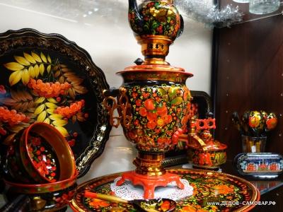 Набор с росписью: самовар, поднос, заварочный чайник. Арт.69эрнК