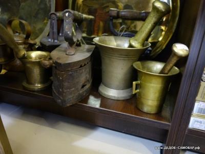 Старинная латунная ступка с пестом. В ассортименте