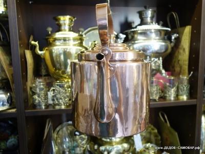 Редкий дореволюционный красно-медный чайник, Товарищество Кольчугина 5 л. Арт.61чм