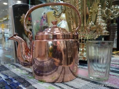 Маленький дореволюционный чайник красно-медный. Арт.55чм